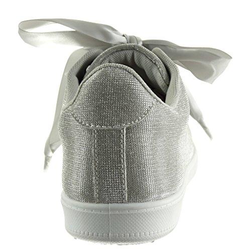 Suela Saten Tacón Deportivos Zapatillas Mujer Plano Plata Codones Angkorly De Talón Cm Moda 2 FHaw40