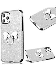 """Cestor Glitter Case for iPhone 12 Pro Max 6.7"""",Stylish Bling Sparkles Soft TPU Rubber Shockproof Protective Case with Bowknot Stand Ring Holder,Silver"""