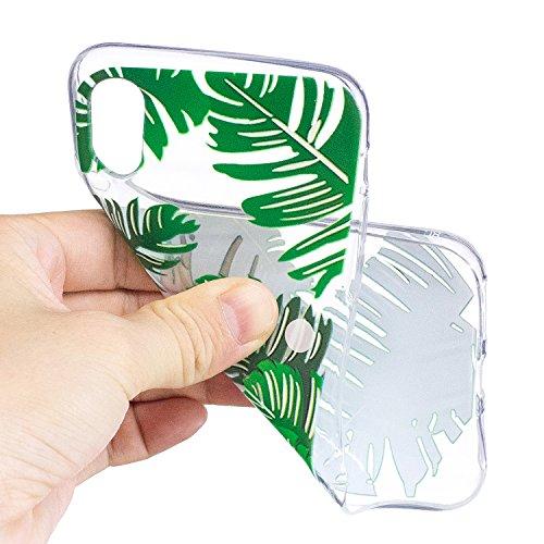 iPhone X Hülle Grüne Blätter Premium Handy Tasche Schutz Transparent Schale Für Apple iPhone X / iPhone 10 (2017) 5.8 Zoll + Zwei Geschenk