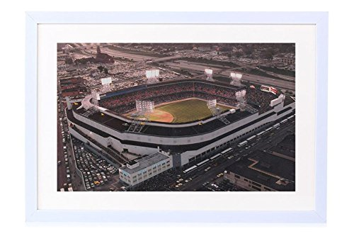 Old Tigers Stadium, Detroit, Mi - Art Print White Wood Framed Wall Art Picture 20x14 inches Framed (Old Tiger Stadium Detroit)