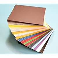 Pack of 100 MIXED COLORS 7.5x9.5 UNCUT Mat Board / Matboard Blanks for Framing / Crafting