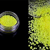 neon colored nail polish - Hongxin 7 Colors Makeup Glow Powder Super Bright Glow In The Dark Power Nail Polish Glow Luminous Pigment Fluorescent Neon Powder (Yellow)