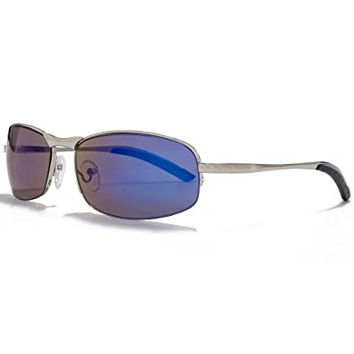 Glare Eyewear Seth Rimless Sunglasses in Silver with a Blue Mirror Lens 40151 Blue Revo One Size Blue Mirror OECuca