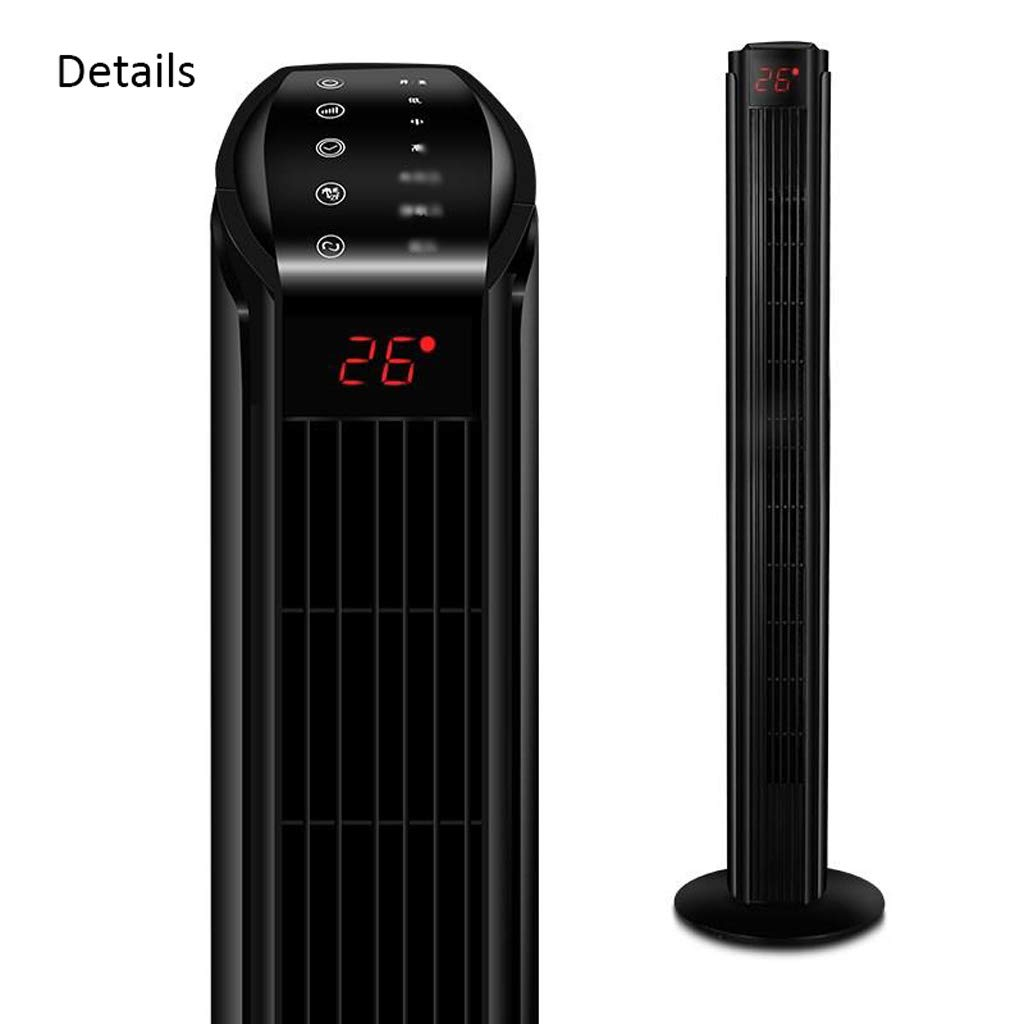 Portable Floor Fan, Intelligent Remote Control Timing Home Fan Tower Fan, Safe Leafless Fan (Color : Black) TMY