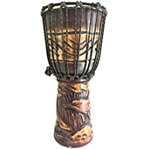 """Djembe Drum Deep Carved Djembe Bongo Congo SOLID WOOD Percussion Drum - XL SIZE - 20"""" - PROFESSIONAL QUALITY/ SOUND - JIVE BRAND (Dolphin)"""