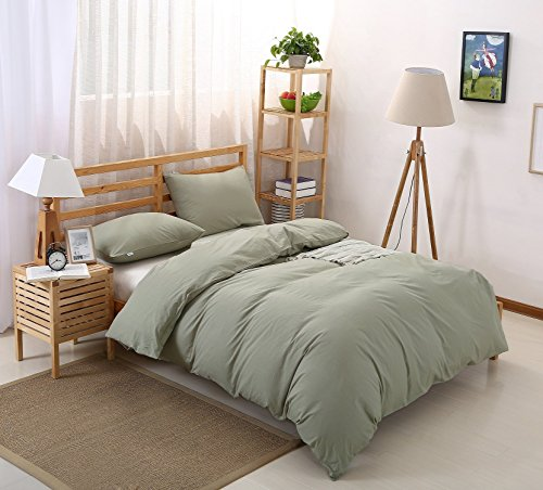 (Colourful Snail 100-Percent Natural Washed Cotton Duvet Cover Set, Ultra Soft and Easy Care, Fade Resistant, Queen/Full, Green)