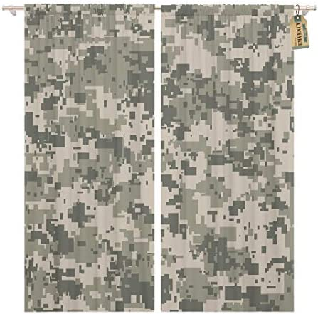 Golee Window Curtain Gray Camo Digital Pixel Camouflage Khaki Pattern Army Camoflauge Home Decor Pocket Drapes 2 Panels Curtain 104 x 96 inche