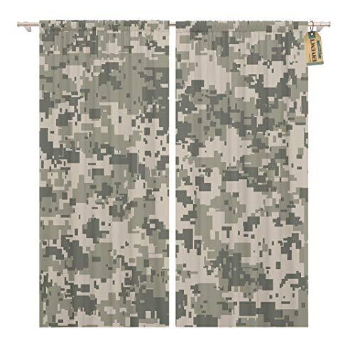 Golee Window Curtain Gray Camo Digital Pixel Camouflage Khaki Pattern Army Camoflauge Home Decor Rod Pocket Drapes 2 Panels Curtain 104 x 84 inches