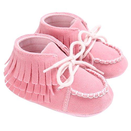 Hunpta Baby Neugeborene Troddel Soft Sole Schuhe Jungen Mädchen Anti-Rutsch Kleinkind Krippe Prewalker (6 ~ 12 Monate, Gray) Rosa