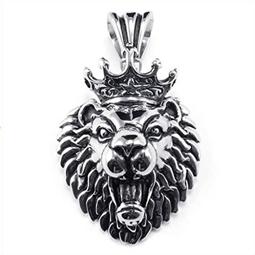 Chandelier Music Video Costume (Stainless Steel Necklaces, Men's Pendant Necklace Silver Lion King Tribal Biker 18-26