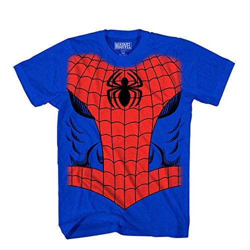 Marvel Big Boys' The Amazing Man Spider In Me Juvy Costume T-Shirt, Blue, Extra Large