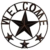 Ai.Moichien 19'' Vintage Dark Brown Home Metal Circled Star with Letters Welcome Wall Décor for Retro Style Living Room / Office / Bar / Restaurant Decoration