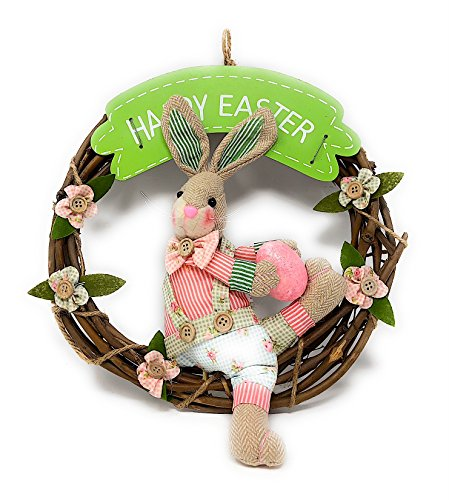 Happy Easter Wreath With Bunny For Front Door Wall Decoration (12 Inch) (Green)