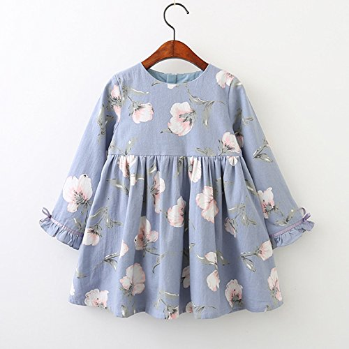 DeemoShop Printing Princess Dress Autumn Style Long Sleeve Flowers Printing Design for Children Clothes