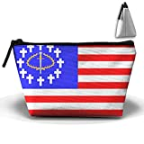 MIPU SHANGMAO Christian Kingdom of North America Trapezoidal Storage Bag Double Print Handbag Zipper Package Coin Purse Cosmetic Pouch Wallet Pencil Holder Zipper