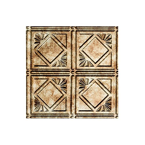 Fasade Easy Installation Traditional 4 Bermuda Bronze Glue Up Ceiling Tile / Ceiling Panel (12