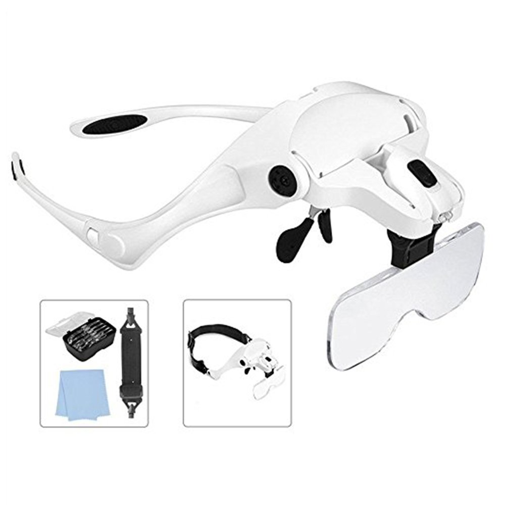 Lighted Head Magnifying Glass Headset with LED Light Headhand Magnifier Loupe Visor Hands Free for Jewelry,Repair,Sewing,Crafts,Eyelash Extension,5 Lenses(1X,1.5X,2X,2.5X,3.5X)
