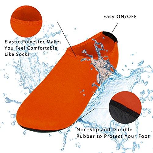 Nlife Barefoot Waterschoenen Aqua Sokken Voor Strand Surf Zwembad Swim Yoga Aerobics (mannen & Vrouwen, M-xxxl) Groen / Oranje