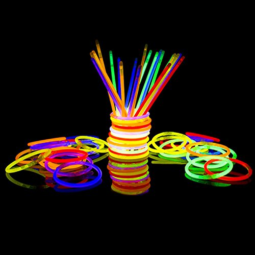 300 Glow Sticks Bulk Party Supplies - Glow in The Dark Fun Party Pack with Super Bright 8 Glowsticks and Connectors for Bracelets and Necklaces (Multi Color)