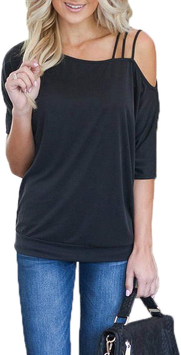 Ajpguot Mujer Manga Corta Sin Tirantes Camisetas Verano Color Sólido Blusas Casual Tops Camisas