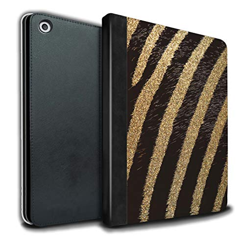 (eSwish PU Leather Book/Cover Case for Apple iPad 9.7 (2017) Tablets/Gold Glitter Zebra Design/Fashion Animal Print Pattern Collection)