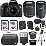 Canon EOS Rebel T6i 24.2 MP Digital SLR Camera Bundle + Canon EF-S 18-55mm STM + Canon EF-S 55-250mm IS STM Lens + 2pc 32gb Memory Cards + Deluxe Camera Case + LED Flash + 12pc Accessory Kit