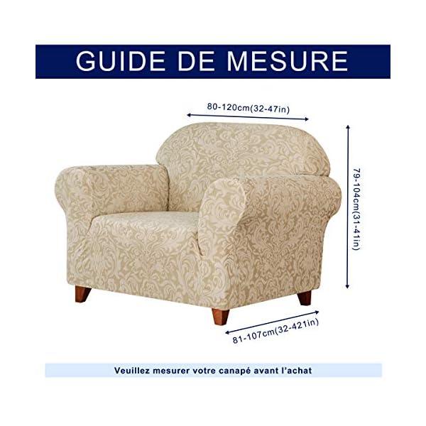 subrtex 1 Pièce Housse de Canapé avec Accoudoirs Jacquard Damassé Housse de Fauteuil Extensible Canapé Protecteur Décorative (1 Place, Beige)