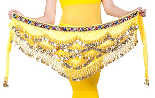 328 Coins Women Belly Dance Dancing Hip Scarf Wrap Yellow (Coin Dance Dancing Belly)