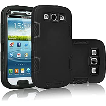 Galaxy S3 Case, Tekcoo(TM) [Troyal Series] [Black/Black] Hybrid Shock Absorbing Shock Dust Dirt Proof Defender Rugged Full Body Hard Case Cover Shell For Samsung Galaxy S3 S III I9300 GS3 All Carriers