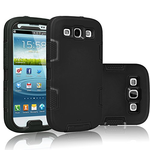 Tekcoo Galaxy S3 Case, [Troyal Series] [Black/Black] Hybrid Shock Absorbing Shock Dust Dirt Proof Defender Rugged Full Body Hard Case Cover Shell for Samsung Galaxy S3 S III I9300 GS3 All Carriers (Cheap Phone Cases For Samsung Galaxy S3)