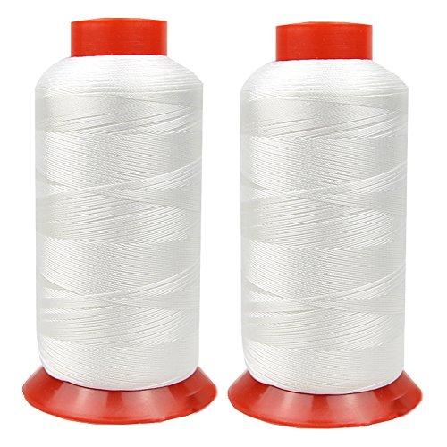Hilo de nailon de alta resistencia para tapicería, piel, cincha, lona, 2 blanco, 1