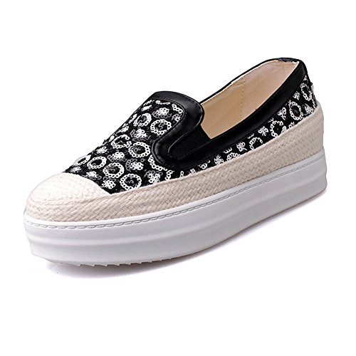 Loafer Sequin Shoes with Platform Black Lucksender Womens 4pzqF