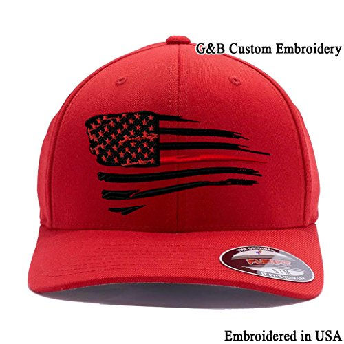 - Flexfit Thin Red Line Waving USA Flag. Embroidered, 6277 Wool Blend Cap hat (L/XL Red)