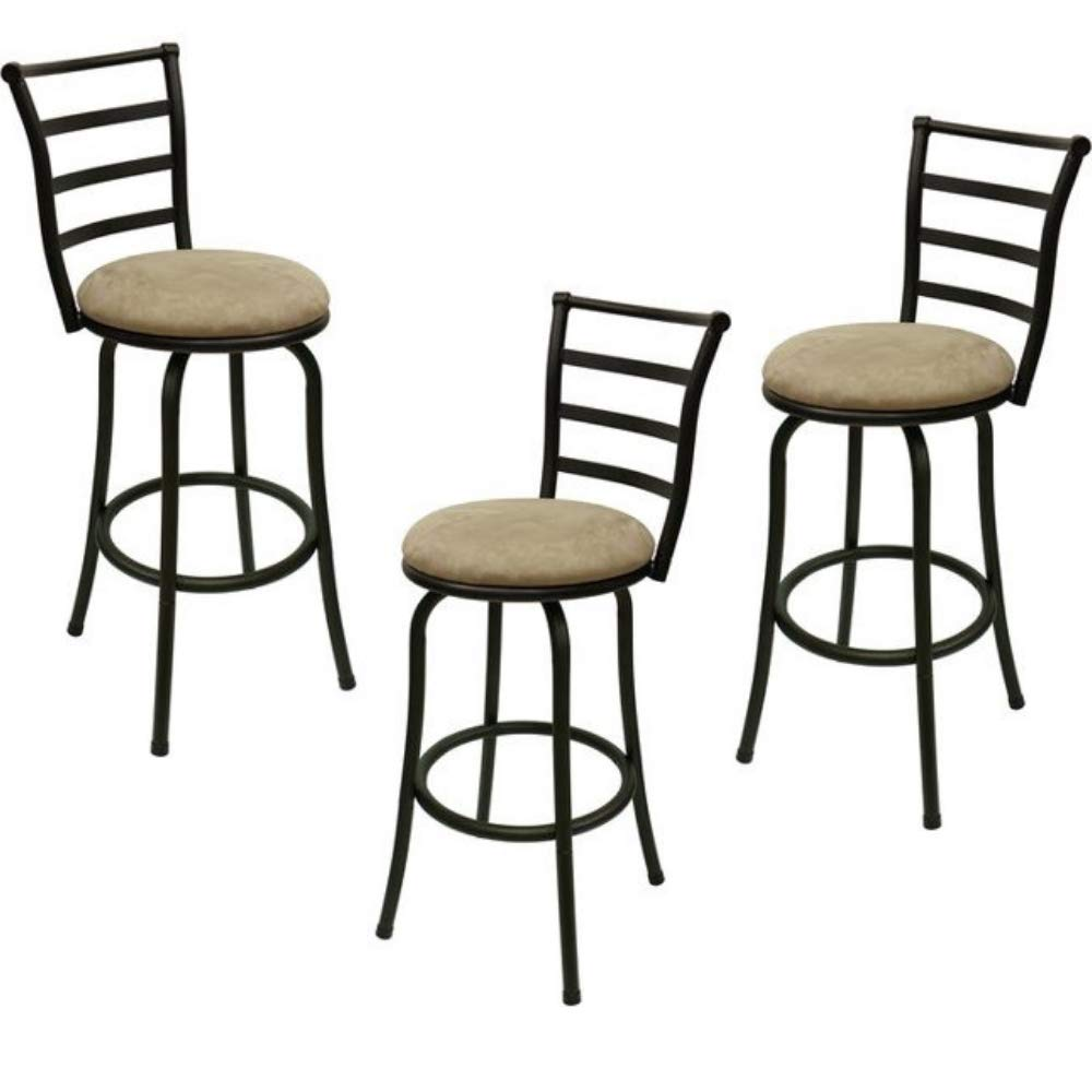 Adjustable-Height Swivel Barstool, Hammered Bronze Finish, Set of 3, Mainstay