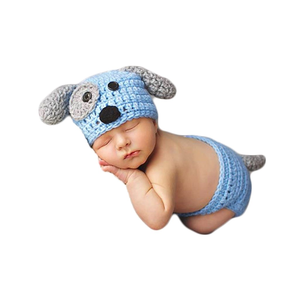 Zeroest Baby Photography Props Boy Girl Photo Shoot Outfits Newborn Crochet Costume Infant Knitted Clothes Puppy Hat Shorts (Blue)