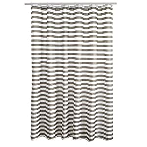 "FindNew Mildew-Free Water-Repellent/Waterproof Eco-friendly Odor Resistant Fabric Shower Curtain for Bath (72"" X 72"", Grey Stripe)"