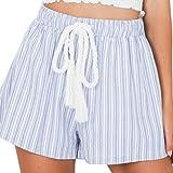Women Shorts,Haoricu 2017 Hot Sale!New Women Summer Striped Casual Loose Short Laides Pants (L, Blue)
