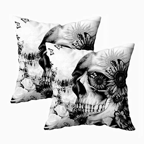EMMTEEY Home Decor Throw Pillowcase for Sofa Cushion Cover,Reflection Floral Landscape Skull Decorative Square Accent Zippered and Double Sided Printing Pillow Case Covers 18X18Inch,Set of 2