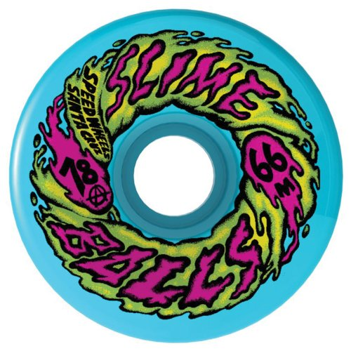 Santa Cruz Skate 78a SlimeBall 66S Wheels, Neon Blue, 66mm