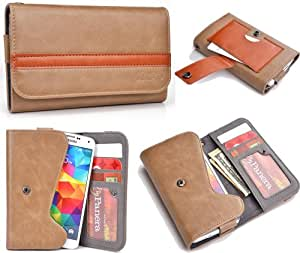 Copper Brown Bronze Mens | Womans Wallet Phone Duo Fits Samsung I9103 Galaxy R +NuVur KeyChain ESMLGPN1