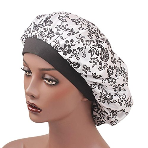 Creazy Women's Satin Floral Wide-brimmed Hair Band Sleep Cap Muslim Hat Hair Cap (White)