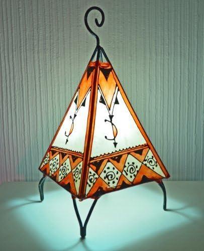 Lámpara de mesa marroquí con forma de pirámide color naranja y ...