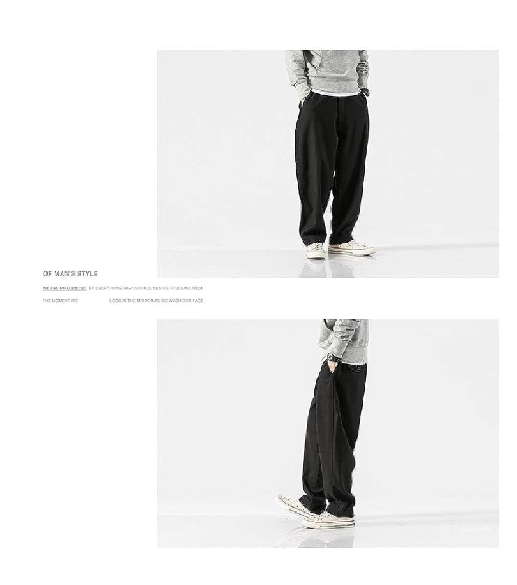 Zimaes-Men Soft Plush Plus Size Juniors Solid Colored Trousers Pants