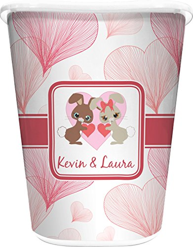 - RNK Shops Hearts & Bunnies Waste Basket - Double Sided (White) (Personalized)