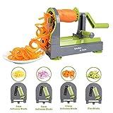 iNeibo Spiralizer Vegetable Slicer, Upgraded 4-in-1 Rotating Blade Spiralizer, Heavy Duty Vegetable Spiral Cutter Slicer, Veggi Spiralizers, With Powerful Suction Base, Professional Veggie Pasta Zoodl