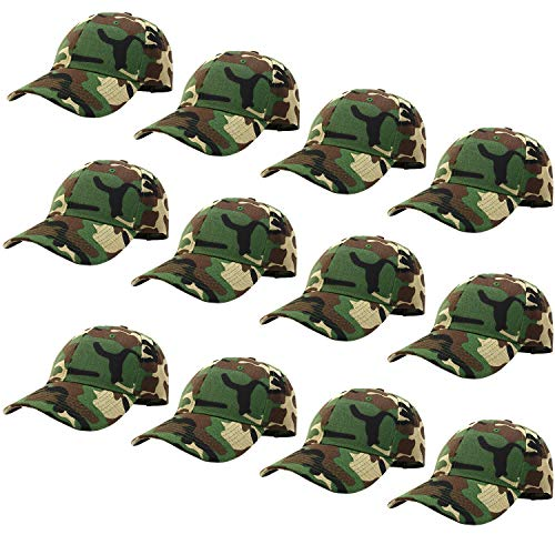 Wholesale Camo Caps - 12-Pack Bulk Sale Plain Baseball Cap Adjustable Size Solid Color G012-00-WoodLand