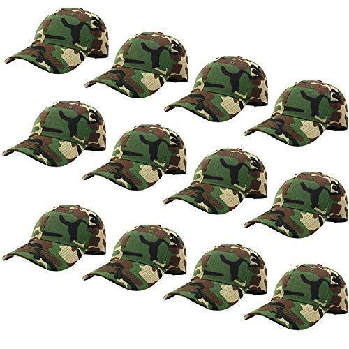 12-Pack Bulk Sale Plain Baseball Cap Adjustable Size Solid Color G012-00-WoodLand