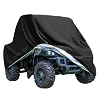 "XYZCTEM UTV Cover with Heavy Duty Black Oxford Waterproof Material, 114.17"" x 59.06"" x 74.80"" (290 150 190cm) Included Storage Bag. Protects UTV From Rain, Hail, Dust, Snow, Sleet, and Sun"