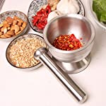 Bekith Brushed Stainless Steel Mortar and Pestle/Spice Grinder/Molcajete 10 Double 304 stainless steel construction, heavy and durable Functional Design with Non-Skid Base, Heavy-Duty Pestle Press Patent Pending & Copyright Protected