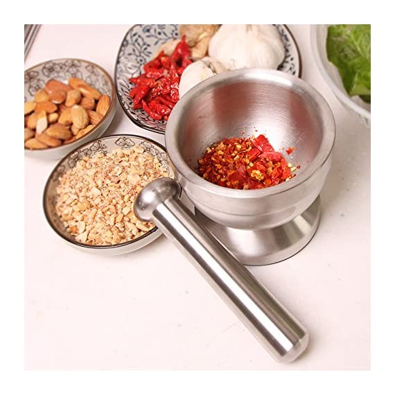 Bekith Brushed Stainless Steel Mortar and Pestle/Spice Grinder/Molcajete 4 Double 304 stainless steel construction, heavy and durable Functional Design with Non-Skid Base, Heavy-Duty Pestle Press Patent Pending & Copyright Protected